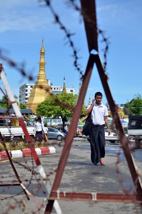 Sule Pagoda. Rangoun. Birmanie. Mai 2014.